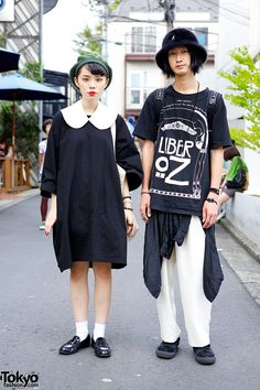 They just look great.'We met Ruko & Itoo in Harajuku. Ruko is a student & model wearing a cute OTOE with a collar & a Itoo is wearing a Liber Oz t-shirt with a KTZ backpack & hat. Asian Street Style, Tokyo Street Style, Japanese Street Fashion, Tokyo Fashion, Harajuku Fashion, Asian Style, Street Styles, Japan Street, Harajuku Style