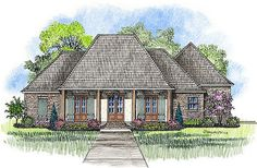 Acadian style house plan, The Vermillion, Madden Home Design, 4 bedrooms, 3 baths, 2128 square feet living, bonus 425; total 3564; width 63'2