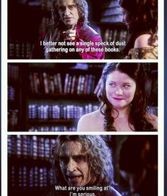 "RumBelle interaction after he gives her the library in 2.19 ""Lacey"""