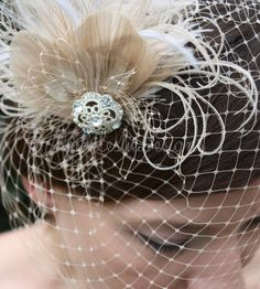 As Seen in Style Me Pretty -  Champagne Birdcage Veil with Feather Fascinator -$98.00