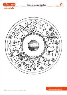 Coloriage Mandala : Les animaux rigolos