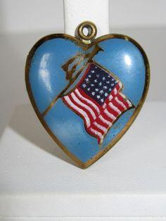 1940's Enamel American Flag WWII Sweetheart Patriotic Locket Charm Photos  kbcate on ebay