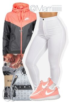 """Mall Today"" by trill-forlife ❤ liked on Polyvore featuring beauty, NIKE, HUF, MCM, DKNY and Karen Walker"