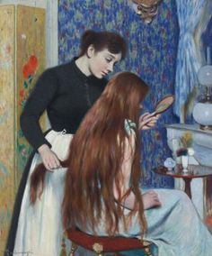 View LA COIFFURE By Federico Zandomeneghi; oil on canvas; Access more artwork lots and estimated & realized auction prices on MutualArt. Italian Painters, Italian Artist, Plastic Art, Mirror Art, Mirrors, Collaborative Art, Renoir, Beautiful Paintings, Romantic Paintings