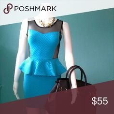 """Peplum Dress """"Price ⬇⬇⬇"""" COLOR: Blue & Black👗  DETAILS: Comfortable Fit  SIZE: See Below FABRIC: 95% Polyester 5% Spandex Dresses"""