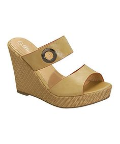 Another great find on #zulily! Tan Grommet Wedge Sandal #zulilyfinds