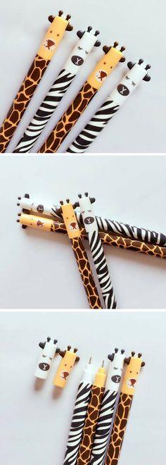 Cute zebra and giraffe gel pens! Kawaii! Great school supplies #ad #kawaii #zebra #giraffe #stationery #etsyfinds