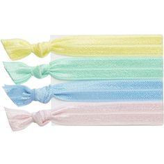 RIBBAND Pastel hair ties ($7.51) ❤ liked on Polyvore featuring accessories, hair accessories, hair, fillers, blue, elastic hair ties, blue hair accessories and ponytail hair ties