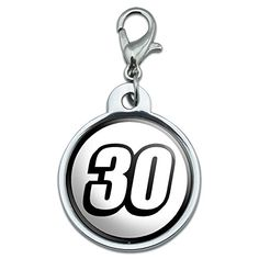 Chrome Plated Metal Small Pet ID Dog Cat Tag Racing Numbers Automotive  30 Number Thirty ** Continue to the product at the image link. (Note:Amazon affiliate link)