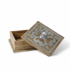 Wood and Metal Covered Box - GG Collection