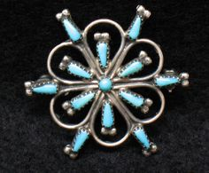 Turquoise Pin Brooch Southwestern Native American by MicheleACaron