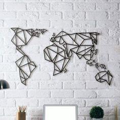 Déco murale carte du monde acier
