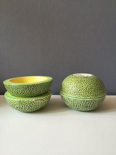 Four Mid Century Holt Howard Cantaloupe Melon by TheBigScissors