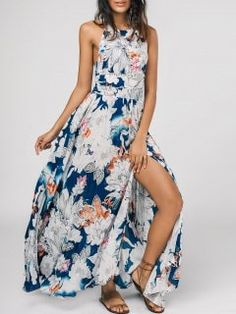Bowknot Floral Cut Out Maxi Dress - Floral M
