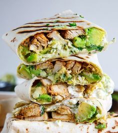 Chicken and Avocado Burritos Made by @closetcooking . Follow him for more awesome food! @closetcooking  Ingredients 4 burrito sized tortillas (corn tortillas for gluten-free) warmed 1 pound cooked chicken sliced or shredded 1 large avocado diced 1 cup Monterey Jack cheese shredded 1/4 cup salsa verde (store bought or home made) 1/4 cup sour cream or greek yogurt 2 tablespoons cilantro chopped . Directions Assemble the burritos optionally toast and enjoy! by healthyfitnessmeals