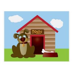 Cute Puppy Dog with Dog House Illustration Postcard - dog puppy dogs doggy pup hound love pet best friend