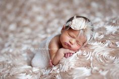 Ready to Ship - Beige Chiffon Flower Embellished Deluxe Headband on Cream Lace Headband by LittleKeirasBows