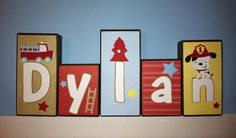 Personalized Wood Blocks - M2M Geenny's Baby Boy Fire Truck Bedding Set - Firefighter / Fireman / Baby Name Blocks - Baby Letter Blocks
