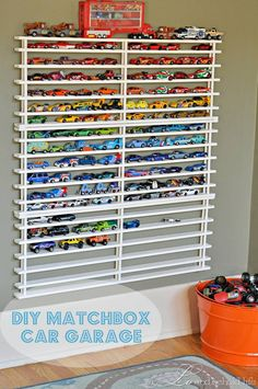 Matchbox car garage - Connor and Aiden would die for something like this in their room!