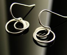 Entwined Circles Earrings in Sterling Silver  by Popsicledrum, $21.00