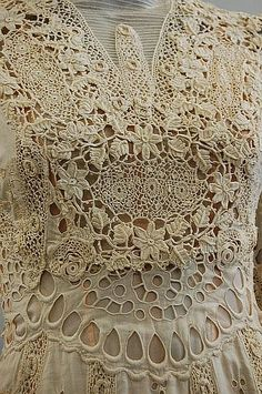 elaborate lace summer gowns, circa the first with cutwork and Irish crochet insertions, trained skirt; the other of Valenciennes and bobbin lace over a replacement satin under-gown, busts Irish Crochet, Crochet Lace, Crochet Edgings, Crochet Motif, Crochet Shawl, Lace Ribbon, Lace Fabric, Antique Lace, Vintage Lace
