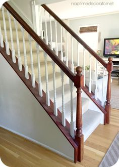 Jave Gel Stained Banister: One Year Update (Naptime Decorator) Painted Banister, Painted Staircases, Staircase Railings, Banisters, Staircase Design, Stained Staircase, House Staircase, Staircase Ideas, Hallway Ideas
