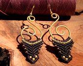 Black ang Gold macrame Earrings, Brass Earrings,Tribal Jewelry