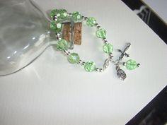 Green Swarovski Crystal Catholic Rosary Bracelet