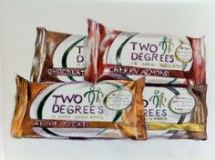 All four flavors of Two Degrees nutrition bars; every bar sold gives a RUTF (therapeutic food) to a malnourished child through its giving partners