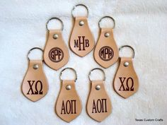 Personalized Monogrammed Leather Keychain by texascustomcrafts