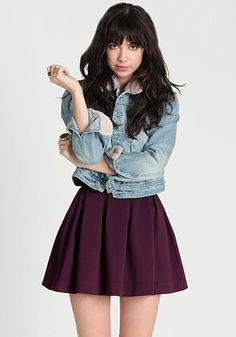 pleated plum skirt --- threadsence.com