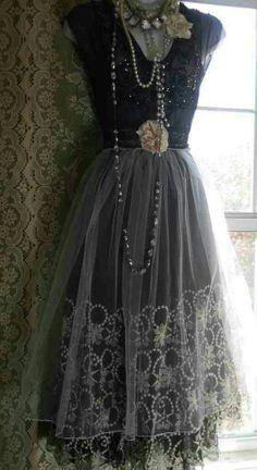 Black chiffon lace
