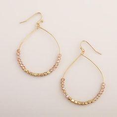 One of my favorite discoveries at WorldMarket.com: Gold Beaded Bottom Hoop Earrings