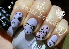 It's all Japanese Kawaii in our house lately! We are going to Tokyo next year and the kids are learning Japanese, studying up on Manga a. Stiletto Nail Art, 3d Nail Art, Art 3d, Hello Kitty Nails, Red Nail Designs, Japanese Nail Art, Cat Nails, Funny Tattoos, Pastel Nails