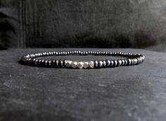 Items similar to gunmetal vintage venetian glass seed beads sterling silver beaded mens bracelet / stretch bracelet for men / men minimalist bracelet on Etsy Stretch Bracelets, Bracelets For Men, Venetian Glass, Simple Jewelry, Bracelet Making, Seed Beads, Sterling Silver, Minimalist, Vintage