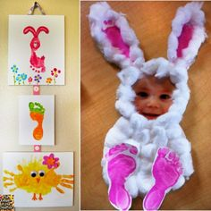 "<input class=""jpibfi"" type=""hidden"" >OMG ! These little bunnies are so cute !  They are incredibly simple but turn out neat and adorable . All you need are just cotton balls, footprints and a photo. For making these personal Easter bunnies, first print a photo, then make 4 kids footprints and Cut out a big oval (the belly) .…"
