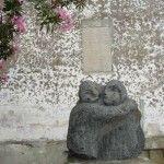 Aeolian island of Stromboli: lava stone sculpture of lovers