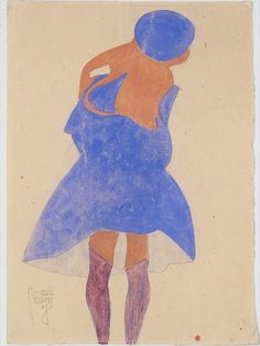 Egon Schiele - Standing Girl, Back View, 1908