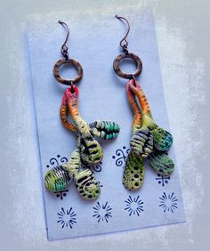 """""""Sweet Pea"""" Polymer Earrings, handformed shapes, brass rings by Christine Damm of Stories They Tell"""