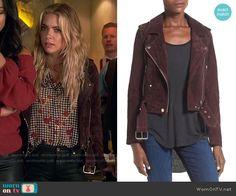 Hanna's burgundy moto jacket on Pretty Little Liars.  Outfit Details: https://wornontv.net/59126/ #PLL