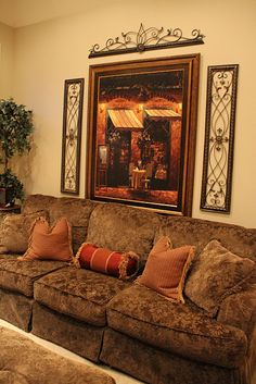 love the tuscan style living room. Sophisticated and comfortable