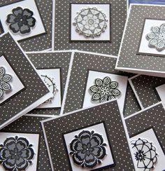 Black and white Mandala Mini Cards with polka by SandrasCardShop, $4.00