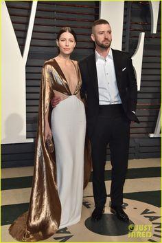 Justin Timberlake & Jessica Biel at Vanity Fair's Oscar Bash. Perfect Dress, Perfect Couple.