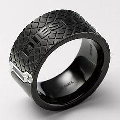 Diesel black ip stainless steel mens ring sz-9 dx0405-new+tag msrp $105