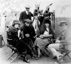 Colleen Moore, Sam Taylor, Adela Rogers St Johns, Harold Lloyd with Walter Lundin at the camera on set of 1923's Why Worry?