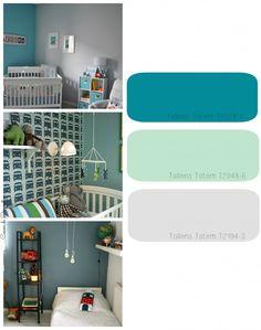 Chambre d'enfants gris / bleu canard / vert amande.