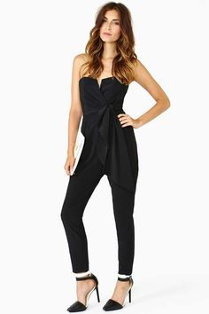 Jaden Wrap Jumpsuit - Black | Shop What's New at Nasty Gal