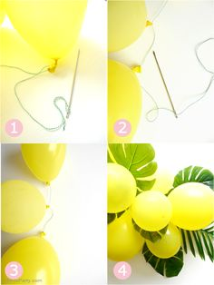 diy-balloon-table-centerpiece-garland-tropical-fronds-palms-party-birthday.png (800×1065)