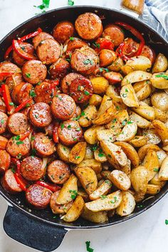 Smoked Sausage and Potato Skillet - Sizzle up a skillet full of delicious goodness with smoked sausage, potatoes, and bell peppers! - by summer recipes summer recipes abendessen rezepte recipes recipes dessert recipes dinner Smoked Sausage Recipes, Beef Recipes, Skillet Recipes, Easy Recipes, Potato Recipes, Skillet Cooking, Cooking Bacon, Cooking Burgers, Sausage Meals