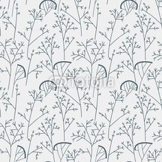 Vector: Seamless pattern with trees and branches